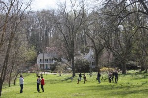 Villagers gather in open space during Easter Egg Hunt 2016. Photo by Cassie Sherman Marks