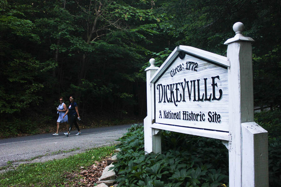 Walkers start the Gwynn Falls Trail in Dickeyville 2016- Carlye Brooks