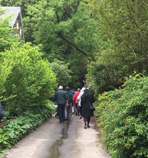 Attendees of the 2017 Baltimore Heritage Tour wander along Dickeyville's picturesque streets