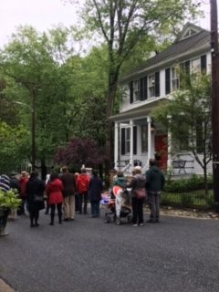 Attendees of the 2017 Baltimore Heritage Tour view homes in Dickeyville